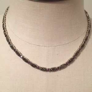 Marcasite and Amethyst  Sterling Silver Necklace